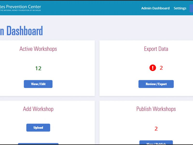 screenshot of NKFM portal admin dashboard