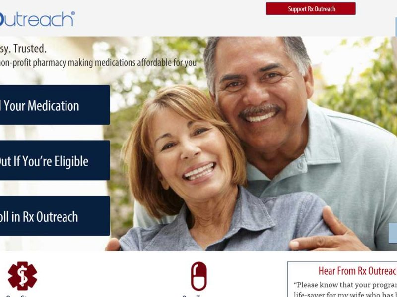 Screenshot of landing page for RX Outreach