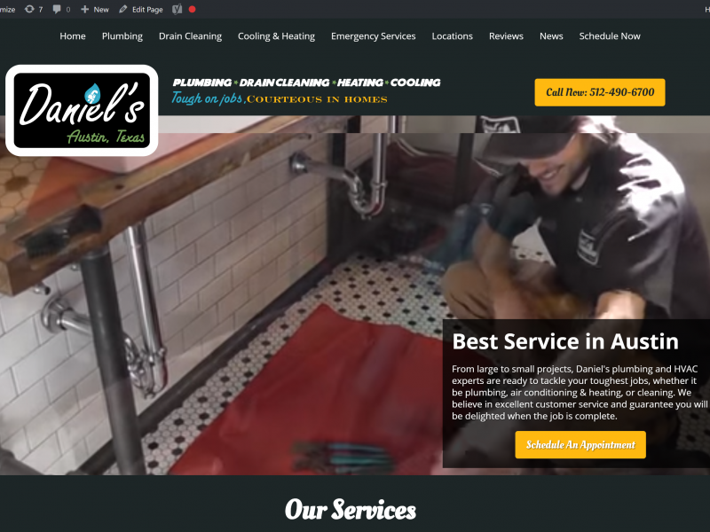 screenshot of home page for Daniel's Plumbing with video